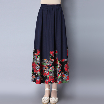 Chinese-style artistic cotton linen New style printed half-length skirt (Dark blue color) (Dark blue color)
