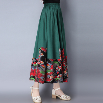 Chinese-style artistic cotton linen New style printed half-length skirt (Green) (Green)