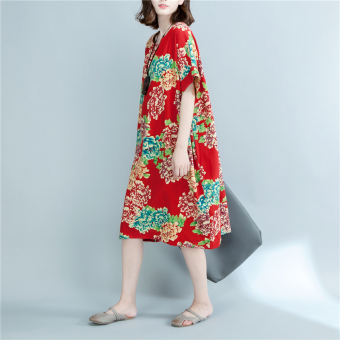Chinese-style artistic cotton linen slimming medium-length skirt dress