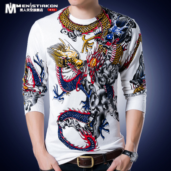 Chinese-style autumn men's long-sleeved t-shirt (White Dragon 9829)