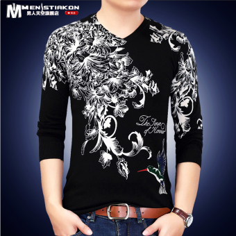 Chinese-style autumn men's printed long-sleeved t-shirt (Black 8031)