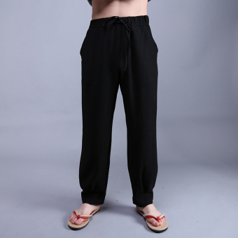 Chinese-style autumn Plus-sized lantern pants men's pants (Black)