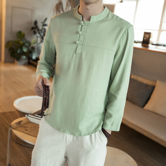 Chinese-style Chinese cotton linen short sleeved plate buttons Top T-shirt (Light green long-sleeved) (Light green long-sleeved)