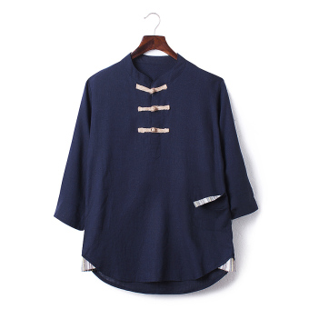 Chinese-style Chinese cotton linen summer length sleeves Top linen shirt (Dark blue color)