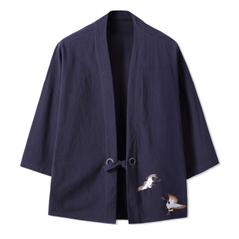 Chinese-style Chinese embroidery Crane Chinese clothing sleeve cardigan cotton jacket (Dark blue color)