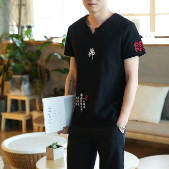 Chinese-style embroidered short sleeved t-shirt Summer linen cloth linen (Buddha black)