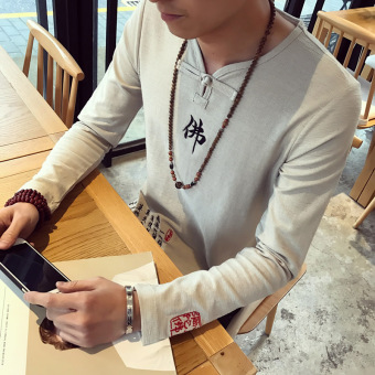 Chinese-style embroidered Spring and Autumn Buddha word casual long-sleeved t-shirt (Light gray color)
