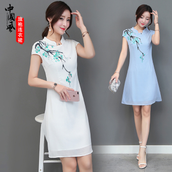 Chinese-style Korean-style female New style ink dress retro chiffon dress (White)