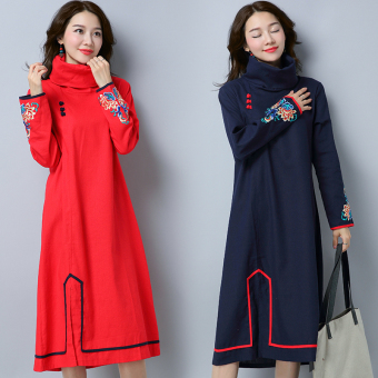 Chinese-style Linen autumn New style original high collar dress (Dark blue color)