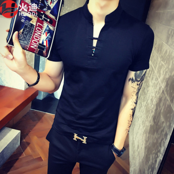 Chinese-style men's v-neck short sleeved t-shirt (Black)
