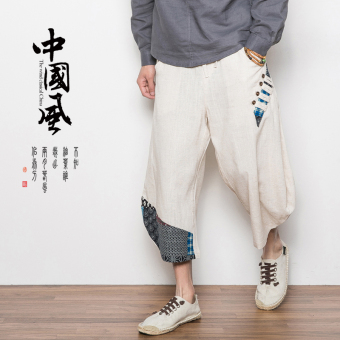 Chinese-style National linen men skinny trousers pants (Hemp qualities)