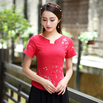 Chinese-style national style cotton linen Top costume Top Cheongsam (Red Top one-piece)