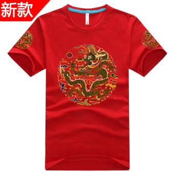 Chinese-style national style traditional culture robes T-shirt (Red)