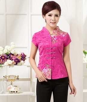 Chinese-style national wind embroidery flower short-sleeved improved costume (Red)
