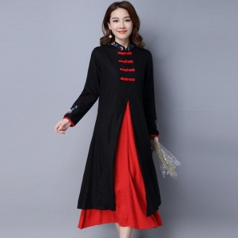 Chinese-style national wind Linen plate buttons fake two-piece dress Dress