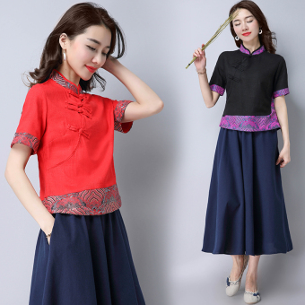 Chinese-style national wind New Style Costume short-sleeved shirt (Red)