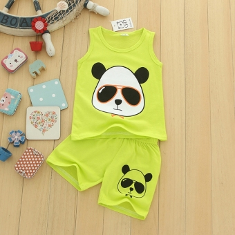 Chinese-style New style PANDA children Baobao vest (Sky blue color)