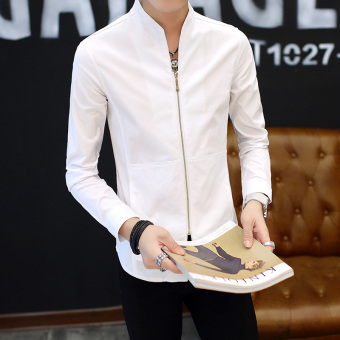 Chinese-style retro male long-sleeved men's Shirt shirt (9903 white)