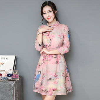Chinese-style retro New style Spring and Autumn Print waist dress improved cheongsam dress