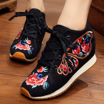 Chinese-style Women's Embroidered Wedges Beef Tendon Cloth Shoes (Butterfly black)