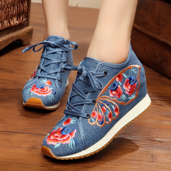 Chinese-style Women's Embroidered Wedges Beef Tendon Cloth Shoes (Butterfly blue)