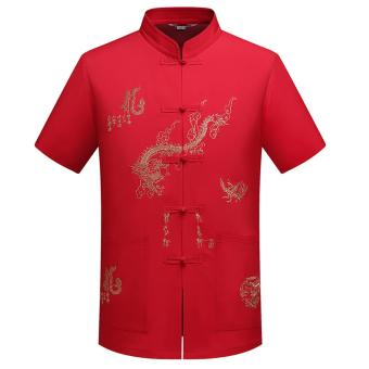 Chinese Traditional Men Clothing Tang Suit Embroidery Dragon ShirtTops Tees Mens Tops Mandarin Collar TangZhuang Kung Fu Nation -intl