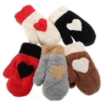 Christmas Lovely Full finger plush Style Snow Mittens Gloves (Beige)