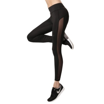 CHRLEISURE Women Mesh Leggings Sexy High Waist Adventure Time SideMesh Legging Women Workout Black Spandex Quick Dry Leggins S-XL -intl