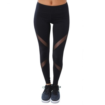 CHRLEISURE Women Sexy Mesh Leggings Fashion High Waist Push Up Workout Leggings Activewear Polyester Black running finness yoga Leggings - intl