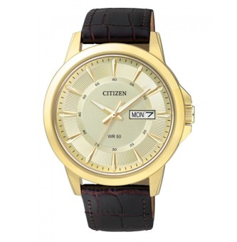 Citizen Quartz Standard Men's Brown Leather Strap Watch BF2013-05P
