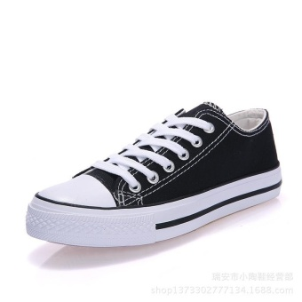 Classic Canvas Shoes Anti-slip Shoes Lace-up High Quaity Casual Shoes Women`s Men For Couples Sneakers Spring Summer Flat Shoes(Black) - intl