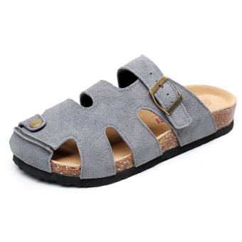Classic casual leather flat Plus-sized Birkenstock shoes Baotou slippers (Gray)