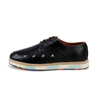 Classic Fashion Men Leather Flat Shoes Black - picture 2