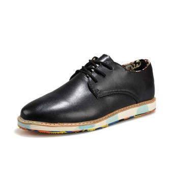 Classic Fashion Simple Men Leather Flat Shoes Black