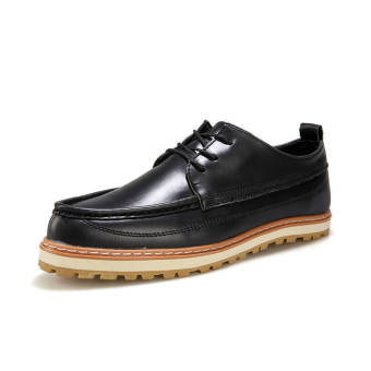 Classic Men Leather Lace-Ups Shoes-Black