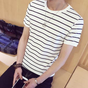 Classic popular White Youth Short sleeved t-shirt Cotton (White dark blue strip)