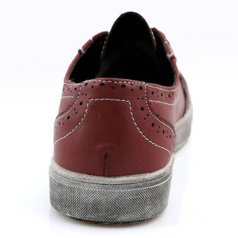 Classic Simple Men Leather Flat Shoes Red - picture 2