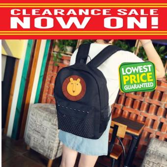 Clearance Sale !!! Pilot 5014 Canvas Cutie Lion Pattern StudentGirl Casual Travel Outdoor Backpack Bag(Black)