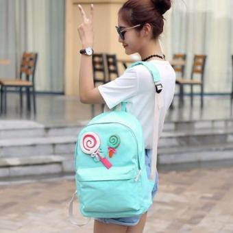 Clearance Sale !!! Pilot 9008 Korean Sweet Lollipop Style 2 Piece Oxford Canvas Sweet Lollipop Laptop Shoulder Bag Hand Pouch Casual Backpack Bag(Light Green)