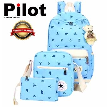 Clearance Sale !!! Pilot 9011 Korean 3-Piece Leisure Style Best Gift Oxford Canvas Laptop Shoulder Bag Hand Pouch Casual Backpack Bag 3-Piece Set (Light Blue)With Free Teddy Bear