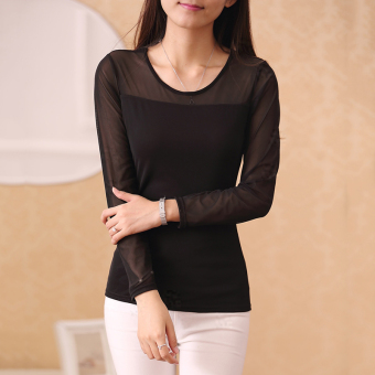 Cloth Chatter Court Women's Lace Fleece-lined Long Sleeve Bottom Shirt- Black (Gauze paragraph black)