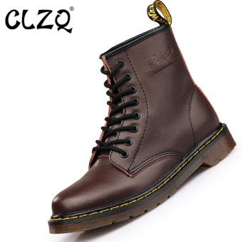 CLZQ 2017 New Men Genuine Leather High-top Martin Boots WaterproofAnkle Boots (Brown) - intl