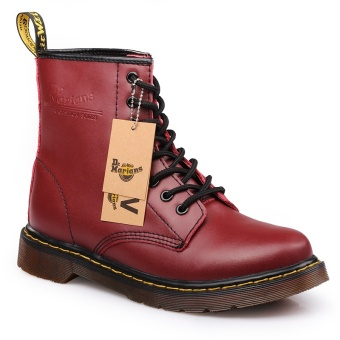 CLZQ 2017 New Men Genuine Leather High-top Martin Boots WaterproofAnkle Boots (Red) - intl Price Philippines