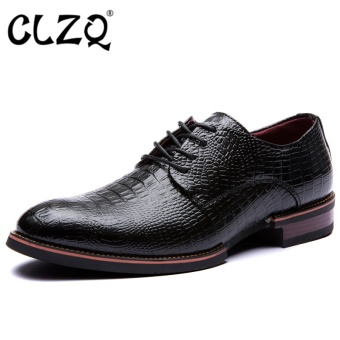 CLZQ Designer Mens Business Casual Shoes Genuine Leather shoesPointed Toe Lace Up Men Formal Wedding Shoes Black - intl Price Philippines