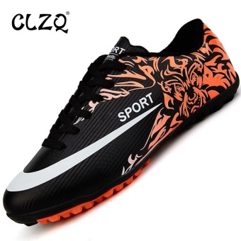 CLZQ Man Kids Sports Indoor Football Shoes Leather Turf SoccerShoes Boys Children Football Training Sneakers Black - intl Price Philippines