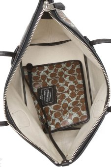 Coach 33504 Taxi Zip Top Tote Bag (Brown/Black) - picture 2
