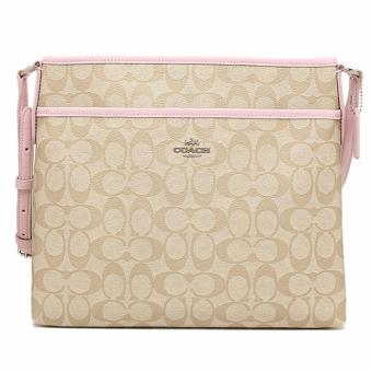 Coach File Bag in Signature Sling Bag Khaki Light Pink - F34938