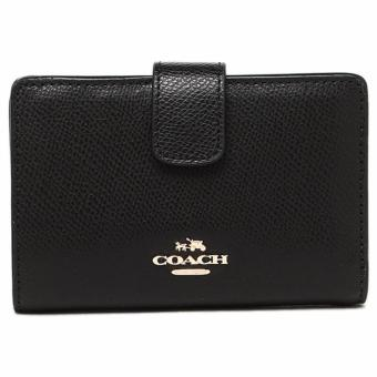 Coach Medium Corner Zip Wallet in Crossgrain Leather Black - F53436
