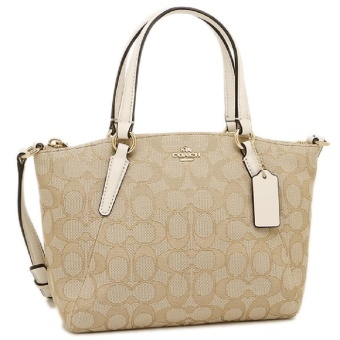 Coach Mini Kelsey Canvas Leather Satchel Crossbody Bag NWT $225Khaki Chalk