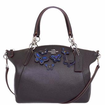 Coach Small Kelsey Satchel in Pebble Leather With Butterfly Applique Black - F59354